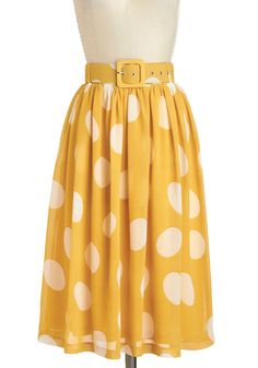 Doll About Town Skirt - Yellow, White, Polka Dots, Belted, Daytime Party, Vintage Inspired, Spring