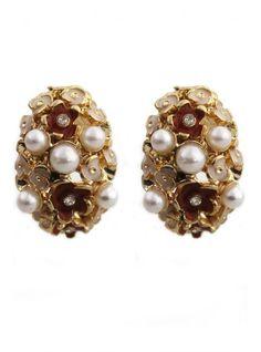 Oval Jewel Stud Earrings