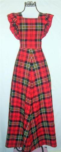 Unique Vintage Retro 1970's tartan plaid wool jumper long ruffle sleeve dress