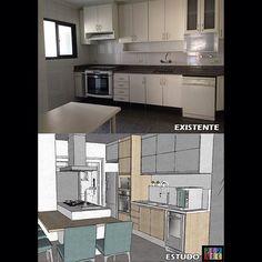 Estudo preliminar de cozinha com ilha! Projeto novo de apartamento saindo!   #cozinha #kitchen #antesedepois #reforma #armarios #marcenaria #chopeira #cozinhailha #arquitetura #arquiteturadeinteriores #instadecor