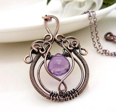 Wire wrap copper necklace, Purple amethyst necklace, Wire wrapped jewelry, Handmade gothic necklace, February birthstone, Copper jewelry