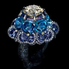 Wallace Chan 'Moonlit Waltz' Ring set with yellow diamond, blue topaz, colored diamond, sapphire