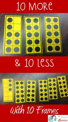 Check out this fun lesson for helping kids how to find 10 more and 10 less than any double digit number.  Print these FREE mini 10 frames or use 10 frames you already have!
