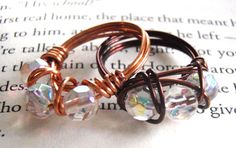 Iridescent Triple Bead Wire Wrapped Ring by LaleePops82 on Etsy, $10.00