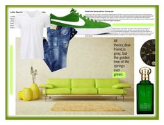 """""""GoGreen."""" by fahira-1 ❤ liked on Polyvore featuring NIKE, Uniqlo, Clive Christian, Grandin Road, men's fashion, menswear and greenday"""