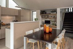 Although open-plan, the space has been divided into multipurpose zones designed to adapt as the family grows.