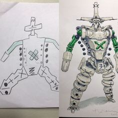 Animator redraws his sons art into Anime. A French animator, Thomas Romain wanted to encourage his son to draw more. He decided to encourage him in his off time by redrawing some of his works into top-notch anime characters. Badass Drawings, Amazing Drawings, Art Drawings, Thomas Romain, French Anime, Doodles, Weird Creatures, Fantasy Warrior, Father And Son