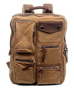 Camel Ridge Valley Leather-Accent Backpack
