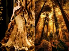 """Elie Saab F/W 2011/12  & """"Towards the sky"""" golden forest, Zsambek (Hungary). Photo by Andy 58. Collage by Liliya Hudyakova."""