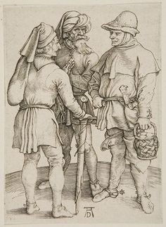 "Dürer's ""Three Peasants in Conversation"", 1497."