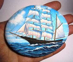 Painted Stone With Sailing Ship Is Painted with by RockArtAttack
