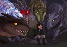 Tharkay and the feral dragons from the Temeraire series by Naomi Novik