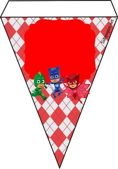 Banderines de Pj Masks con Gekko, Catboy y Owlette Festa Pj Masks, Mask Party, Baby Decor, Party Printables, Happy Birthday, Birthday Ideas, Birthdays, Banner, Clip Art