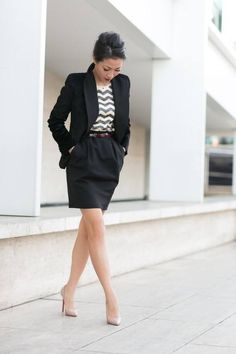 Black Skirt & Vest Business Fashion | www.pinterest.com/versique