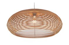 """Love natural HDF """"cork-y"""" grain and color. Cut into progressive rings in Eclipse lamp design by Simon Lockwood, Berlin. Kitchen Pendant Lighting, Kitchen Pendants, Pendant Lamp, Laser Cut Lamps, Wall Lights, Ceiling Lights, Swinging Chair, Light And Shadow, Lamp Design"""