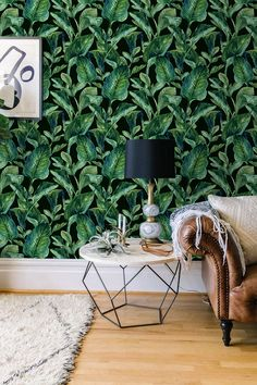 Etsy BohoWalls $38 Tropical Leaves wallpaper, Tropical wall decal removable