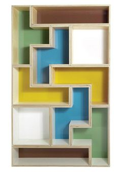 Tetris would have to be one of the most recognizable computer games ever created. The concept is basic and the game is addictive.  Now bring a little Tetris into the nursery decor with the incredibly cool Tetra Flat Shelving by Brave Space Design.