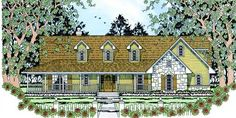 Country Style House Plans - 1817 Square Foot Home , 1 Story, 3 Bedroom and 2 Bath, 2 Garage Stalls by Monster House Plans - Plan 75-334