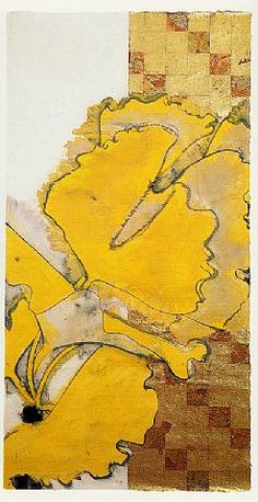 Gingko collage and painting by Robert Kuschner