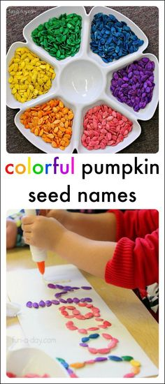 Colorful name activities using pumpkin seeds! Meaningful, beautiful, and educational! #PLAYfulpreschool #artprojects