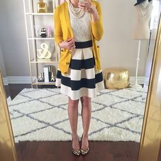 daily outfits -- Loft mustard cardigan // Banana Republic lace shell // Modcloth stripe it lucky skirt // Calvin Klein leopard pumps // Loft faux pearls // Rug // Gold Pouf // Dress Form Office Fashion, Work Fashion, Business Fashion, Modest Fashion, Jw Fashion, Stylish Petite, Petite Fashion, Everyday Outfits, Casual Chic