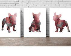 French Bulldog Set 3 Art Prints Burgundy Watercolor Painting