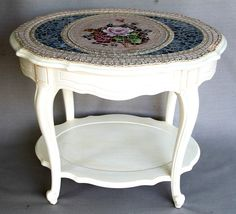Shabby Chic Mosaic Table. --------------------TAGGED: fun, favorite, cute, pretty, furniture, indoor, outdoor, amazing, mosaic, craft, art, artistic, DIY, Do It Yourself, summer, winter, spring, fall, city, country, rural, urban,