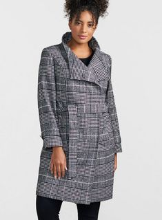 b9d299a39d3e86 Check Tie Funnel Collar Coat - 20% Off Selected Styles - Offers