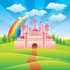 castle cartoon fairy tale backdrop fairytale vector castles colorful easy mural backgrounds backdrops graphicriver walls christmas