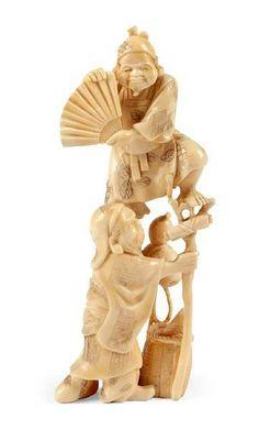 japanese okimono   Japanese ivory okimono, late Meiji, one of two acrobats,… - Okimono ...