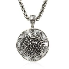 """Caviar Collection #esbedesigns #Fall2014  Caviar Pendant Necklace Black #Sterling #silver with black #CZ Pave pendant on electroplated brass chain 17-20"""" ES733 #handcrafted #gift #jewelry #designer #esbedesigns"""
