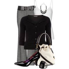 A fashion look from March 2013 featuring black top, off white tank top and grey stretch pants. Browse and shop related looks.