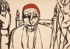 Andrzej Wróblewski, Bez tytułu, (Portret mężczyzny z aktam)