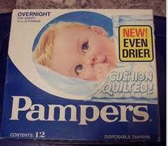 the old Pampers packaging.  I can actually remember my aunt using these when they fastened with pins (before adhesive tabs)