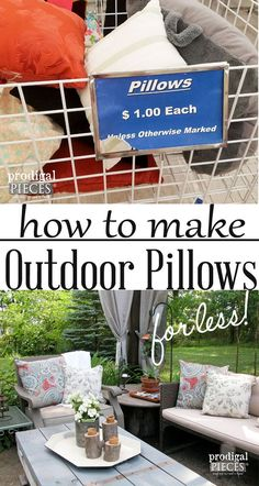 diy outdoor projects Want to spruce up your outdoor decor, but lack a big budget? Let me show you out to create these diy outdoor pillows for next to nothing. Budget Patio, Diy Patio, Diy On A Budget, Decorating On A Budget, Easy Budget, Outdoor Patio Ideas On A Budget Diy, Outdoor Decorations, Patio Pillows, Diy Pillows