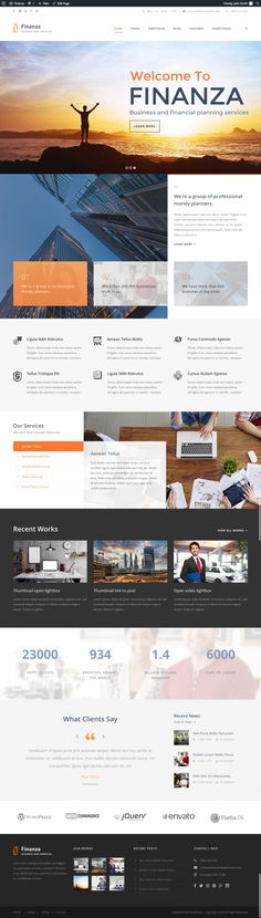 This theme comes with super powerful page builder which allow you to create your site using drag drop ability. It comes with necessary feature for your website such as blog, portfolio, testimonial, personnel, etc - Download http://themeforest.net/item/finanza-business-financial-wordpress-theme/12349206?ref=pxcr