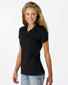 5.6 oz., 97/3 cotton/spandex fitted mini pique polo. Matching rib collar and sleeve cuffs. Slim four-button placket styling. Rib sleeve finish with set-in sleeves. Sideseamed.