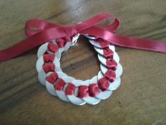 Satin Ribbon silver washer bracelet Red by MirLeeCasa on Etsy. $10.00 USD, via Etsy.
