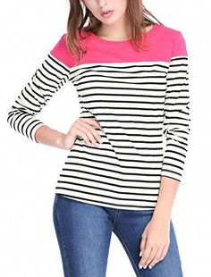 Shop the latest collection of Allegra K Women's Round Neck Long Sleeve Color Block Striped Tops T Shirts from the most popular stores - all in one place. Similar products are available. Maternity Tees, Boat Neck Tops, All Fashion, Ladies Fashion, Fashion Beauty, Manga, Ladies Dress Design, Trendy Plus Size, Long Sleeve Tees
