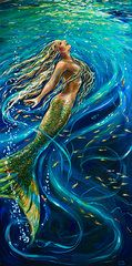 Mermaid Art - Swimming to the Surface by Linda Olsen