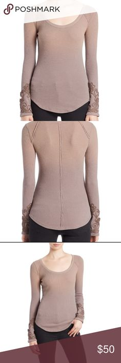 Mushroom masquerade cuff thermal Worn twice. Ombré color in mushroom. Very unique color. It's a taupe that also seems purple. This one is too big on me so I'm looking for it in another size. Free People Tops Tees - Long Sleeve