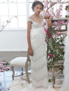 53113094 Marchesa Notte Bridal Spring 2018 column wedding gown with fringe details