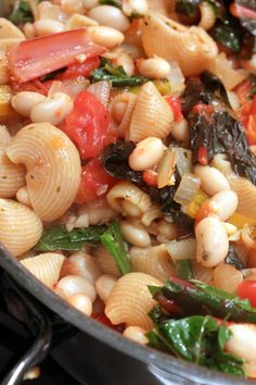 Whole Wheat Pasta with Rainbow Chard and White Beans