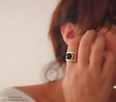 Black Onyx Gemstone Ring  Minimalist   Sterling by serpilguneysu, $55.00