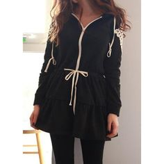 Casual Lace Splicing Flounce Drawstring Hooded Hoodie For Women