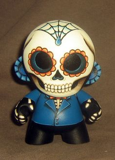 "This is a 4"" Mini Munny, painted in a Day of the Dead sugar skull theme from Monster Something"