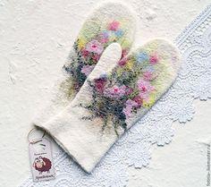 Купить Варежки валяные РАЗНОТРАВЬЕ - комбинированный, варежки, рукавички, варежки акварель, акварельный рисунок