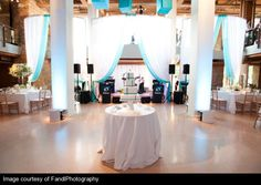 Reception in bright white with hues of blue #weddings #thereception #blisschicago