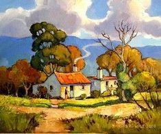 Check out this vital pic and visit the offered facts and techniques on painting landscape Landscape Drawings, Watercolor Landscape, Abstract Landscape, Landscape Paintings, Watercolor Paintings, Poodle Drawing, African Paintings, South African Artists, Africa Art