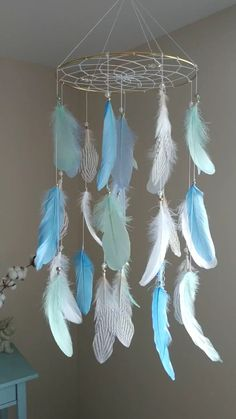 Crib Mobile Mint Blue Baby Mobile Boy Nursery Mobile Large Dream Catcher Woodland Baby Shower Gift, Crib Mobile Mint Blue Baby Mobile Boy Nursery Mobile Large Dream Catcher Woodland Baby Shower Gift Catch happy dreams with this beautiful dream catche. Grand Dream Catcher, Dream Catcher Decor, Beautiful Dream Catchers, Dream Catcher Mobile, Large Dream Catcher, Blue Dream Catcher, Dream Catcher Patterns, Feather Dream Catcher, Dream Catcher Tutorial